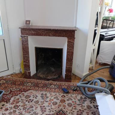 Rénovation d'une ancienne cheminée avec poêle foyer insert bois dans une cheminée capucine à Libourne